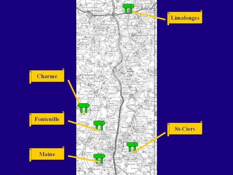 Carte mégalithes Nord Angoulème