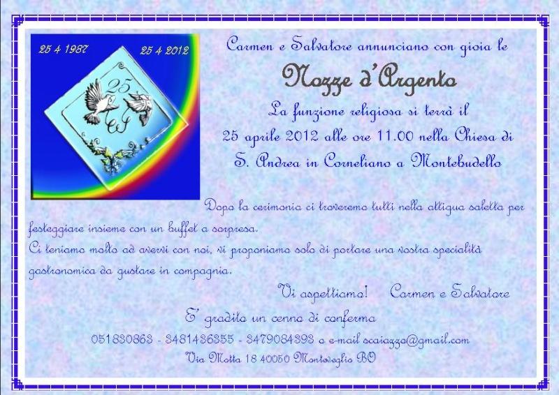 Favoloso Invito alle nozze d'argento IV16