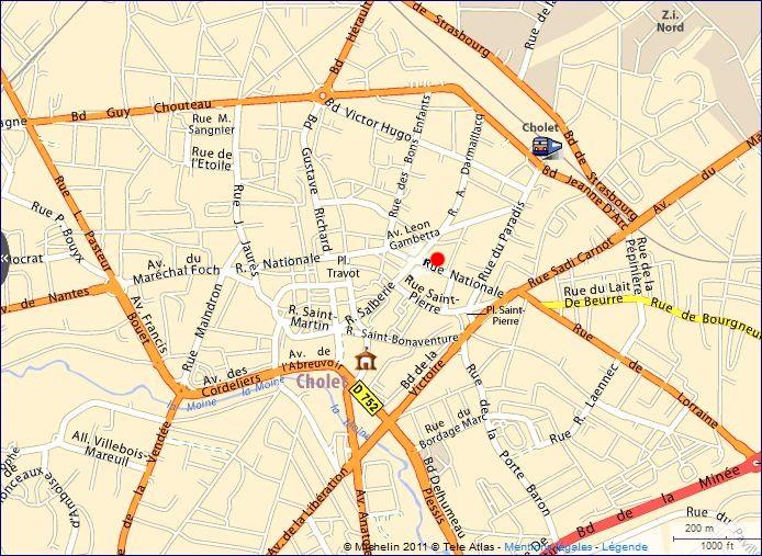 Plan Cholet Centre Ville