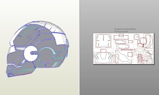 R alisation casque ironman pepakura pour le moment for Plan d iron man