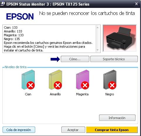 Sistema continuo de tinta no reconoce los cartuchos TX125