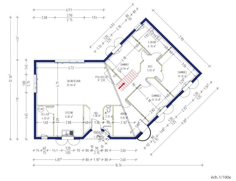 Mylpat125 sur l vation de toit de 35m2 for Plan maison en v