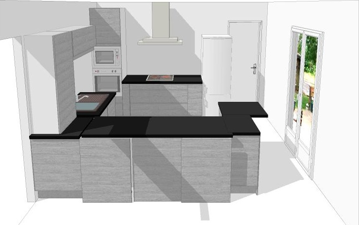Idee cuisine en u cuisine en u petit espace avec armoires for Forme cuisine moderne