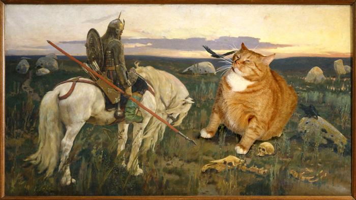 Un Gato se metio en Cuadros famosos.